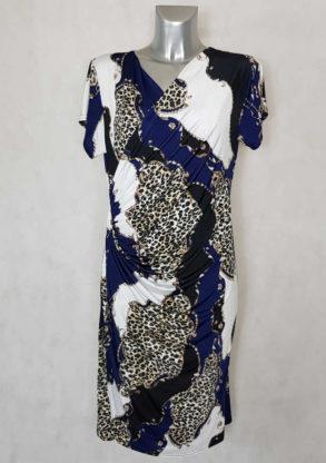 Robe femme fluide drapée bleue motif animal manches courtes
