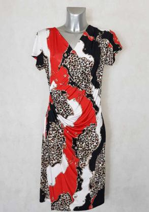 Robe femme fluide drapée rouge motif animal manches courtes