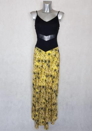 Robe femme longue bimatière florale à bretelles