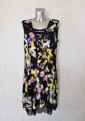 Robe femme ronde droite noir mousseline floral sans manches