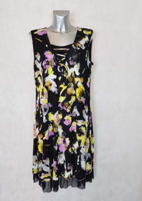 Robe femme ronde droite noir en résille florale sans manches