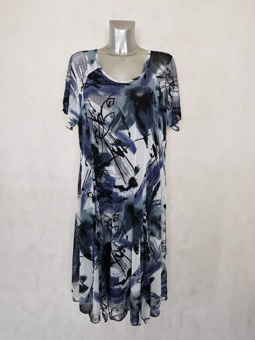 robe-femme-ronde-en-resille-motif-noir-et-blanc-manches-courtes