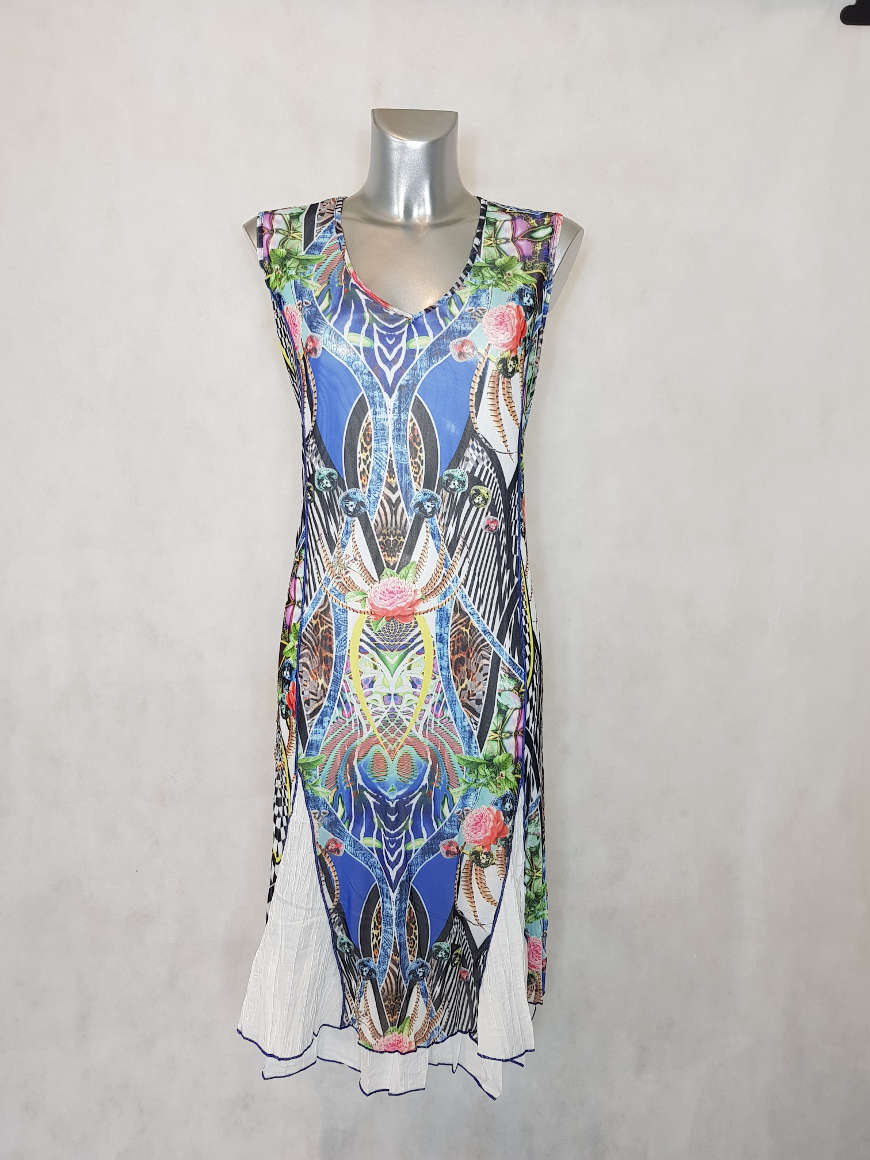 robe-femme-ronde-evasee-en-resille-motif-tropical