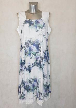 Robe femme ronde évasée en résille fleur bleue