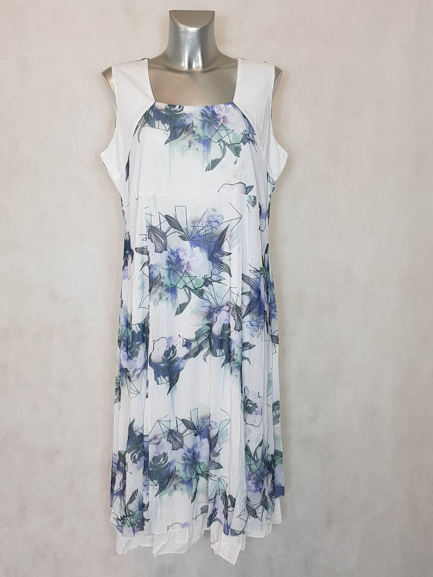 robe-femme-ronde-evasee-mousseline-fleur-bleue