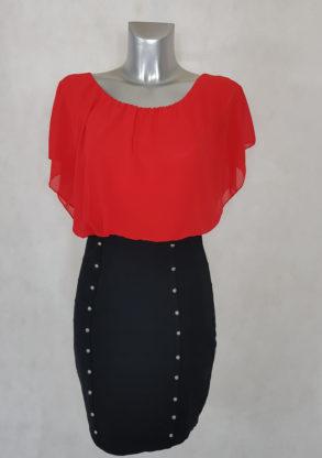 Robe femme rouge-noir courte blousante 2 en 1 manche en voile