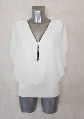 tunique femme blousante blanche 2en1 col zippé