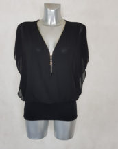 Tunique femme blousante noir 2 en 1 col zippé et manches bénitier