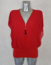 Tunique femme blousante rouge 2 en 1 col zippé et manches bénitier