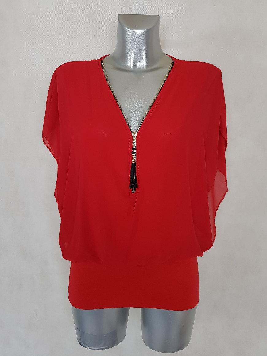 tunique-femme-blousante-rouge-2-en-1-col-zippe