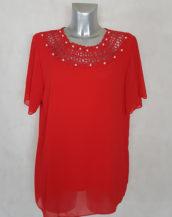 Tunique femme ronde droite rouge voile-dentelle manches courtes