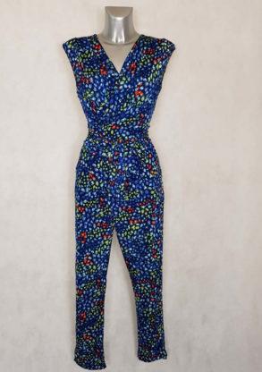 Combi-pantalon femme bleu roi motif minimaliste coupe fuselée col V avec ceinture à nouer