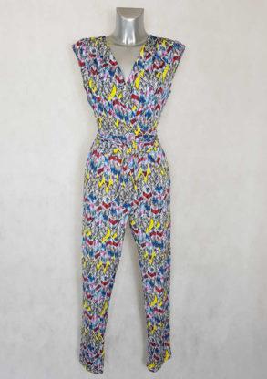 Combi-pantalon femme fluide fuselée motif plume col V avec ceinture à nouer