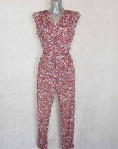 Combi-pantalon femme fluide fuselée rouge florale sans manches avec ceinture à nouer