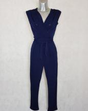 Combi-pantalon femme fluide marine fuselée col V sans manches avec ceinture à nouer