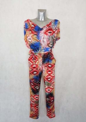 Combi-pantalon femme fuselée fluide motif ethnic taille élastiquée et ceinturée