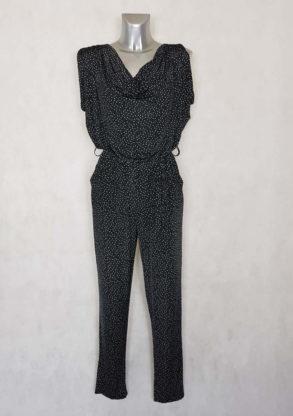 Combi-pantalon femme fuselée fluide noir à pois taille élastiquée et ceinturée