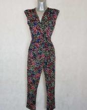 Combi-pantalon femme fushia motif minimaliste coupe fuselée col V avec ceinture à nouer