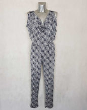 Combi-pantalon femme bleu roi motif minimaliste coupe fuselée col benitier