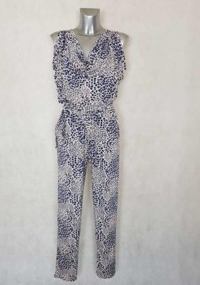 Combi-pantalon femme beige imprimée animal