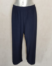 Pantalon femme ronde large fluide bleu taille haute élastiquée