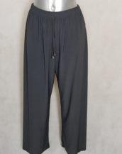 Pantalon femme ronde large fluide gris taille haute élastiquée