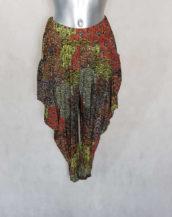 pantalon femme sarouel fluide anis motif aztèque avec taille élastiquée