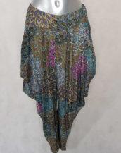 pantalon femme sarouel fluide beige motif aztèque avec taille élastiquée