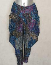 Pantalon sarouel femme imprimé aztèque taille haute élastique.