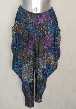 pantalon femme sarouel fluide bleu motif aztèque avec taille élastiquée