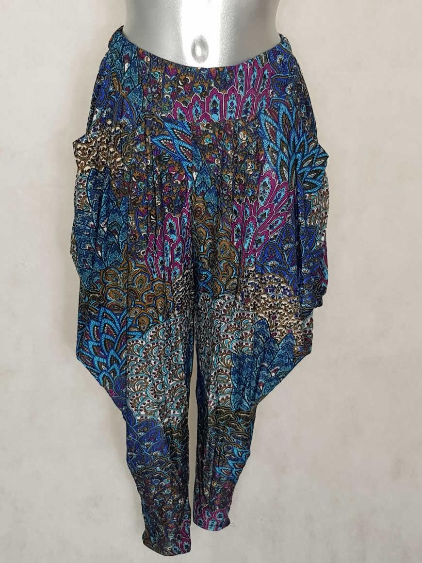 pantalon-femme-sarouel-fluide-bleu-motif-azteque