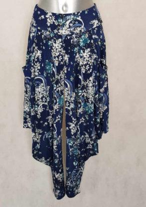 Pantalon femme sarouel fluide bleu motif baroque taille élastiquée