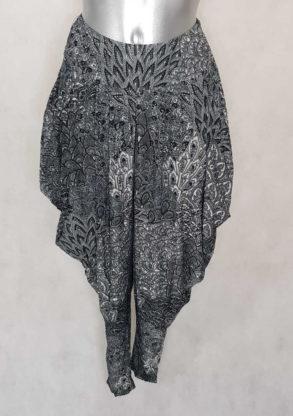 Pantalon femme sarouel fluide noir motif aztèque avec taille élastiquée