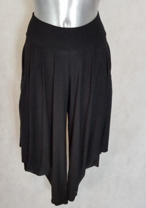 Pantalon sarouel femme chic fluide uni noir taille élastiquée.