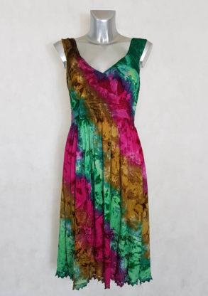 Robe femme évasée fushia tie and dye à bretelles coupe courte
