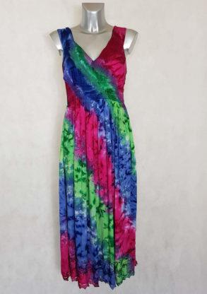 Robe femme longue parme tie and dye à bretelles coupe évasée