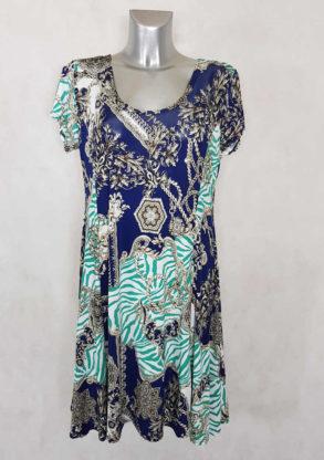 Robe femme ronde évasée azur motif baroque manches courtes