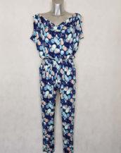 Combi-pantalon femme fuselée fluide bleu à pois taille élastiquée et ceinturée