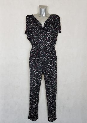 Combi-pantalon femme noir motif papillon coupe fuselée col bénitier