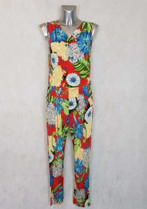 Combinaison pantalon femme fluide motif floral col bénitier