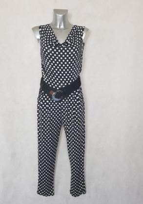 combinaison pantalon femme fluide noir à pois col bénitier