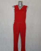 Combi-pantalon femme chic rouge à ceinture col bénitier et sans manches
