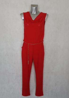 Combinaison pantalon femme fluide rouge uni col bénitier sans manches