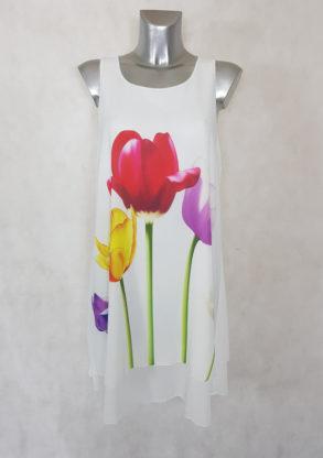 Robe femme courte évasée blanche en voile floral et bretelles