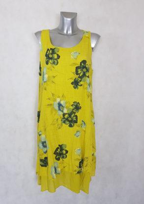 Robe femme évasée jaune en coton floral manches à bretelles