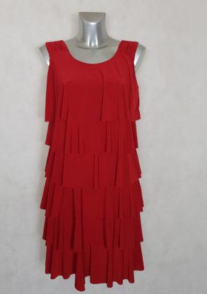 Robe femme fluide rouge à volants et bretelles