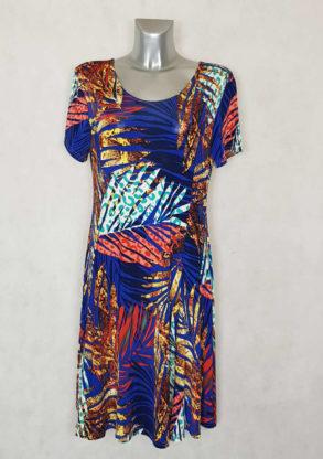 Robe femme ronde évasée marine motif tropical manches courtes