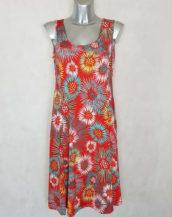 Robe femme ronde évasée rouge motif abstrait manches à bretelles