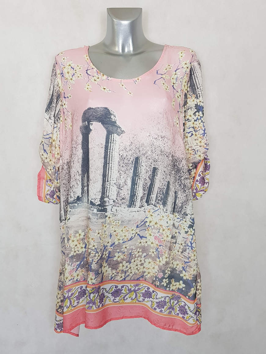 tunique-femme-ronde-evasee-rose-voile-a-motif