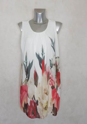 Robe femme courte droite en voile floral blanc manches à bretelles